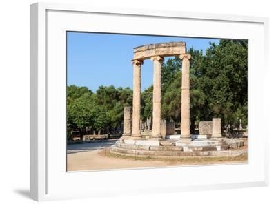 Olympia, Peloponnese, Greece. Ancient Olympia. The Philippeion, 4th century BC. Remains of a cir...--Framed Photographic Print