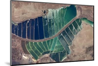 Satellite view of salt evaporation ponds in Jordan-Israel border--Mounted Photographic Print