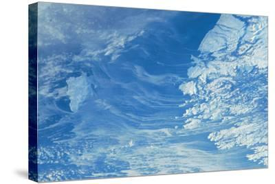 Satellite view of Newfoundland and Labrador with North Atlantic Ocean, Canada--Stretched Canvas Print