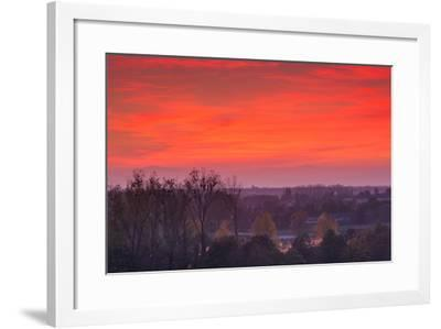 Elevated view of town towards the Rhein River at dusk, Breisach, Black Forest, Baden-Wurttemberg...--Framed Photographic Print