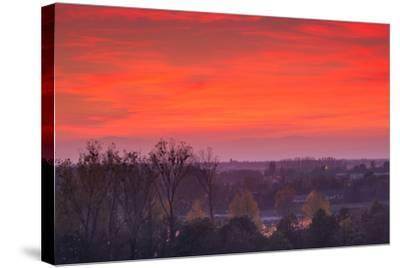 Elevated view of town towards the Rhein River at dusk, Breisach, Black Forest, Baden-Wurttemberg...--Stretched Canvas Print