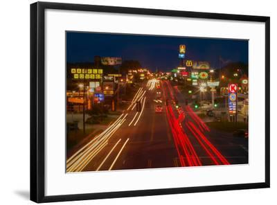 Neon lights along Highway 22 in Central Georgia--Framed Photographic Print