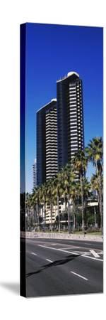 Low angle view of skyscrapers in a city, San Diego, California, USA--Stretched Canvas Print