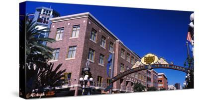 Low angle view of sign, Gaslamp Quarter, San Diego, California, USA--Stretched Canvas Print