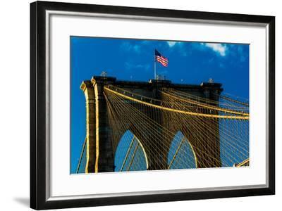 Brooklyn Bridge at sunset, NY NY - in black and white--Framed Photographic Print