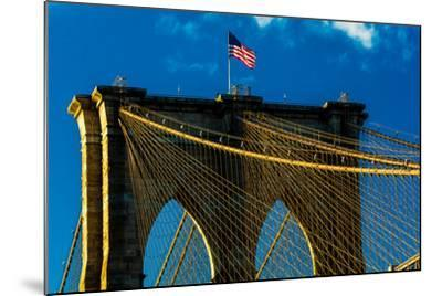 Brooklyn Bridge at sunset, NY NY - in black and white--Mounted Photographic Print