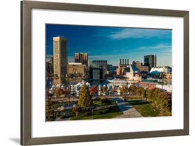 Panoramic view of Baltimore Inner Harbour, Maryland - shot from Federal Park Hill--Framed Photographic Print