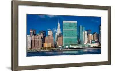 Skyline of Midtown Manhattan seen from the East River showing the Chrysler Building and the Unit...--Framed Photographic Print
