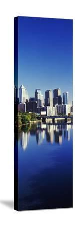 Schuylkill River with skyscrapers in the background, Philadelphia, Pennsylvania, USA--Stretched Canvas Print