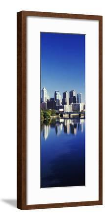 Schuylkill River with skyscrapers in the background, Philadelphia, Pennsylvania, USA--Framed Photographic Print