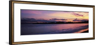 Silhouette of pier in pacific ocean, Santa Barbara, California, USA--Framed Photographic Print