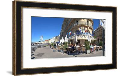 People at sidewalk cafe, Marseille, Bouches-Du-Rhone, Provence-Alpes-Cote D'Azur, France--Framed Photographic Print