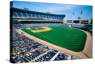 Long view of Baseball diamond and bleachers during professional Baseball Game, Comiskey Park, Il...--Stretched Canvas Print