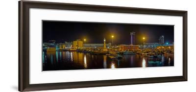 Port Vell at night, Barcelona, Catalonia, Spain--Framed Photographic Print