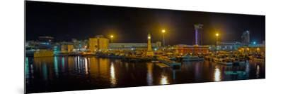 Port Vell at night, Barcelona, Catalonia, Spain--Mounted Photographic Print