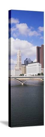 Bridge across the Scioto River with skyscrapers in the background, Columbus, Ohio, USA--Stretched Canvas Print