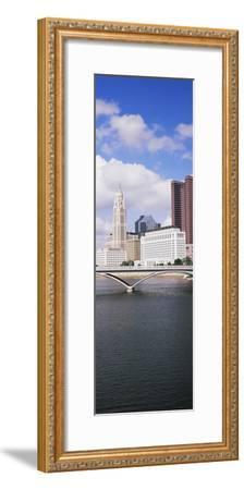 Bridge across the Scioto River with skyscrapers in the background, Columbus, Ohio, USA--Framed Photographic Print
