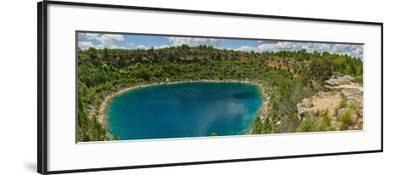Elevated view of the lagoon, Lagunas de Canada del Hoyo, Serrania de Cuenca, Cuenca, Castilla-La...--Framed Photographic Print