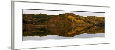 Autumn foliage reflected in a small lake in central Wisconsin, USA--Framed Photographic Print