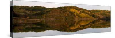 Autumn foliage reflected in a small lake in central Wisconsin, USA--Stretched Canvas Print