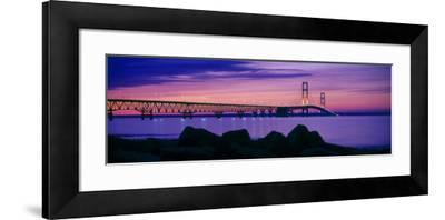 Mackinac Bridge at dusk, Mackinac, Michigan, USA--Framed Photographic Print