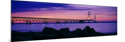 Mackinac Bridge at dusk, Mackinac, Michigan, USA--Mounted Photographic Print