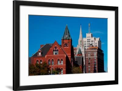Skyline and church on Grand Avenue, St. Louis, Mo.--Framed Photographic Print