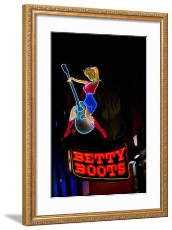 Betty Boots Neon Sign, Lower Broadway, Nashville, Tennessee--Framed Photographic Print