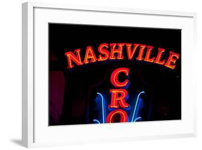 """Red Neon Sign Nashville Crossroads, """"Music City"""", Lower Broadway Area, Nashville, Tennessee, USA--Framed Photographic Print"""