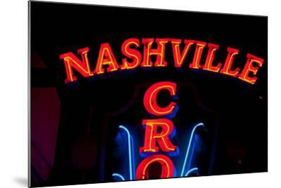 """Red Neon Sign Nashville Crossroads, """"Music City"""", Lower Broadway Area, Nashville, Tennessee, USA--Mounted Photographic Print"""