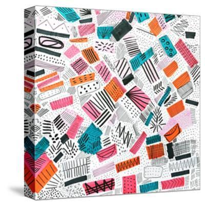 Pink Orange Abstract Drawing-Melanie Biehle-Stretched Canvas Print