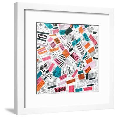Pink Orange Abstract Drawing-Melanie Biehle-Framed Premium Giclee Print