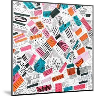 Pink Orange Abstract Drawing-Melanie Biehle-Mounted Premium Giclee Print