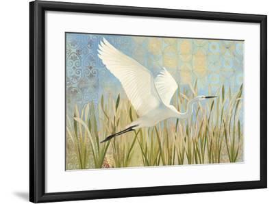Snowy Egret in Flight v2--Framed Art Print