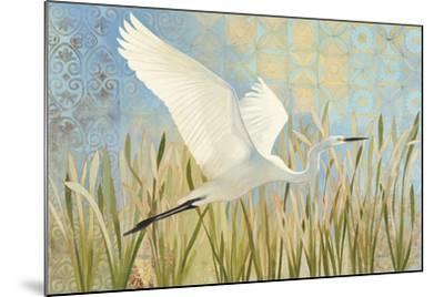 Snowy Egret in Flight v2--Mounted Art Print