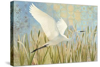 Snowy Egret in Flight v2--Stretched Canvas Print