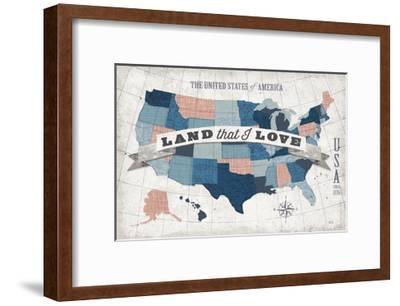 USA Modern Vintage Blue Grey Red with Words--Framed Art Print