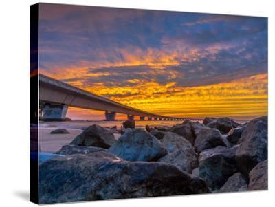 Unique Angle of the Garcon Point Bridge Spanning over Pensacola Bay Shot during a Gorgeous Sunset F-David Schulz Photography-Stretched Canvas Print