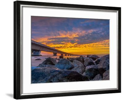 Unique Angle of the Garcon Point Bridge Spanning over Pensacola Bay Shot during a Gorgeous Sunset F-David Schulz Photography-Framed Photographic Print