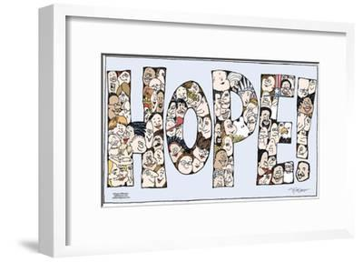 """Hope!  (Faces of all different ethnicities, genders and ages are arranged to spell """"Hope!"""".)-Signe Wilkinson-Framed Art Print"""