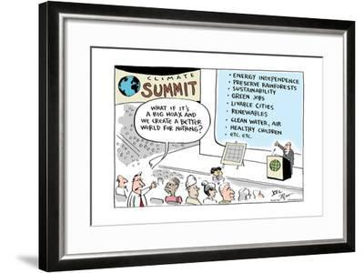 Climate Summit.  What if it's a big hoax and we create a better world for nothing?-Joel Pett-Framed Art Print