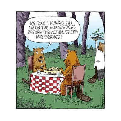 Speed Bump™ - Me, too! I always fill up on the breadsticks before the actual sticks are served!-Dave Coverly-Framed Art Print