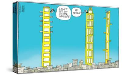 I don't see any income inequality! Me neither!-Signe Wilkinson-Stretched Canvas Print