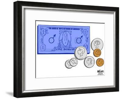 The Good Ol' Boys Network of America.  One Dollar.-Ann Telnaes-Framed Art Print