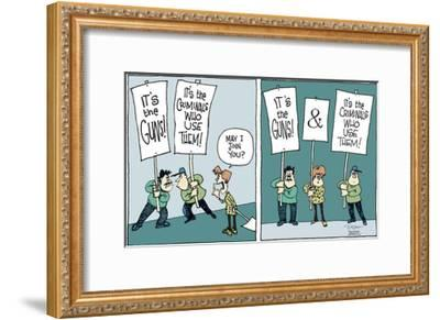 It's the guns!  and  It's the criminals who use them!-Signe Wilkinson-Framed Art Print