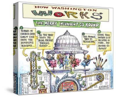 How Washington Works.  The Merry Incumbent Go Round.-Matt Wuerker-Stretched Canvas Print