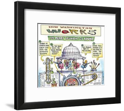 How Washington Works.  The Merry Incumbent Go Round.-Matt Wuerker-Framed Art Print
