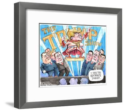 The Trump Show. T. I miss the old debate format …-Matt Wuerker-Framed Art Print