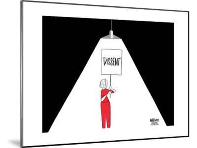 "FBI.  Dissent.  (A light used during interrogations, shines on a woman carrying a ""Dissent"" sign.)-Ann Telnaes-Mounted Art Print"