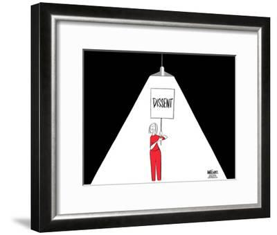 "FBI.  Dissent.  (A light used during interrogations, shines on a woman carrying a ""Dissent"" sign.)-Ann Telnaes-Framed Art Print"